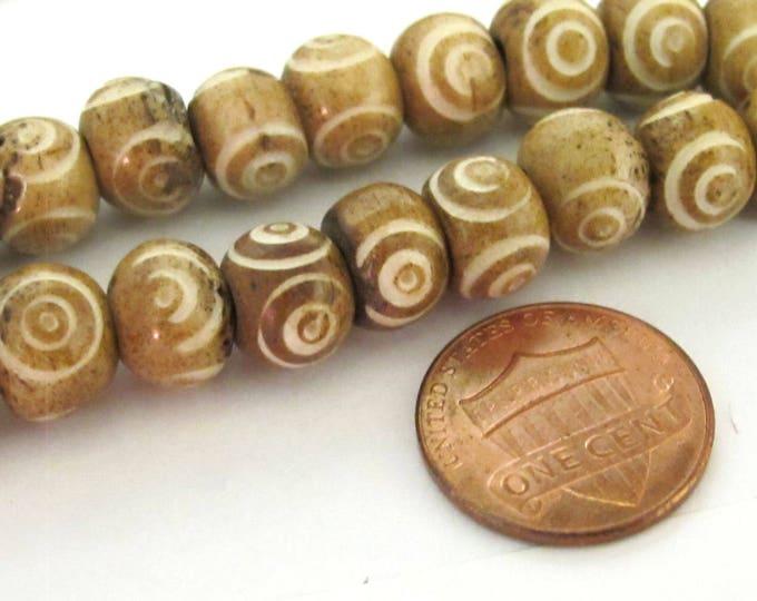 50 BEADS - Brown color Tibetan eye prayer mala bone beads  - HB056C