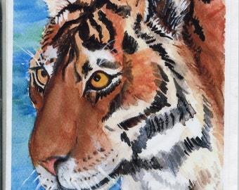 Tiger Greeting Card from my original watercolor Big Cat Painting, blank greeting card