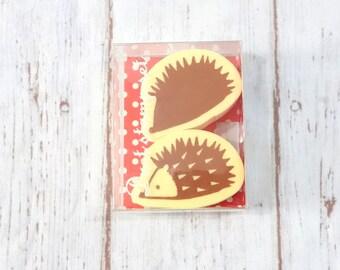 Set of 2  hedgehog   Japanese Rubber Stamps