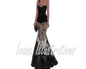 Printable fashion illustration woman in black evening dress Instant download fashion sketch digital download fashion poster fashion art