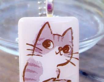 Shelter Kitty Game Tile Pendant Necklace