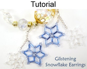Beaded Snowflake Dangle Earrings Beading Pattern - Jewelry Making Tutorial - Beginner - Simple Bead Patterns - Glistening Snowflakes #3486