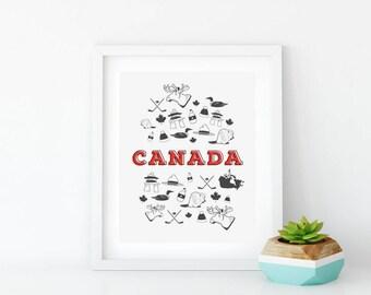 Canada 150 | Canada Wall Art for Living Room | Illustration Print | 8x10 Graphic Art Print | Canada Art Print | Illustration | Canada Print