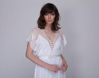 Rustic BOHO WEDDING DRESS. Simple Crochet Lace Bohemian