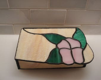 Vintage Purple Pansy Stained Glass Box - Excellent Condition!!