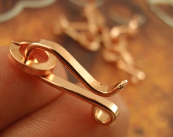 Hand Forged Copper Clasps 20mm  X 10mm - Rustic Flat Petal Style