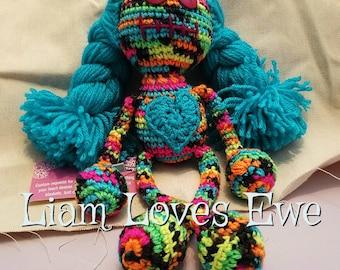 Zombie Doll. Crochet zombie doll. Rainbow Doll. Great Christmas gift. Great birthday gift. Girl doll. Boy doll. Blacklight reactive yarn.