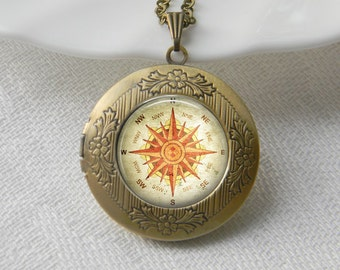 Compass Locket Necklace Art Photo Print Jewelry Locket Pendant Gift For Her (017)