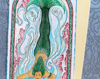 Fine Art Greeting Card, Iemanja Mermaid, Goddess of Rivers, Hand Made, Archival Reproduction of an original watercolor etching.