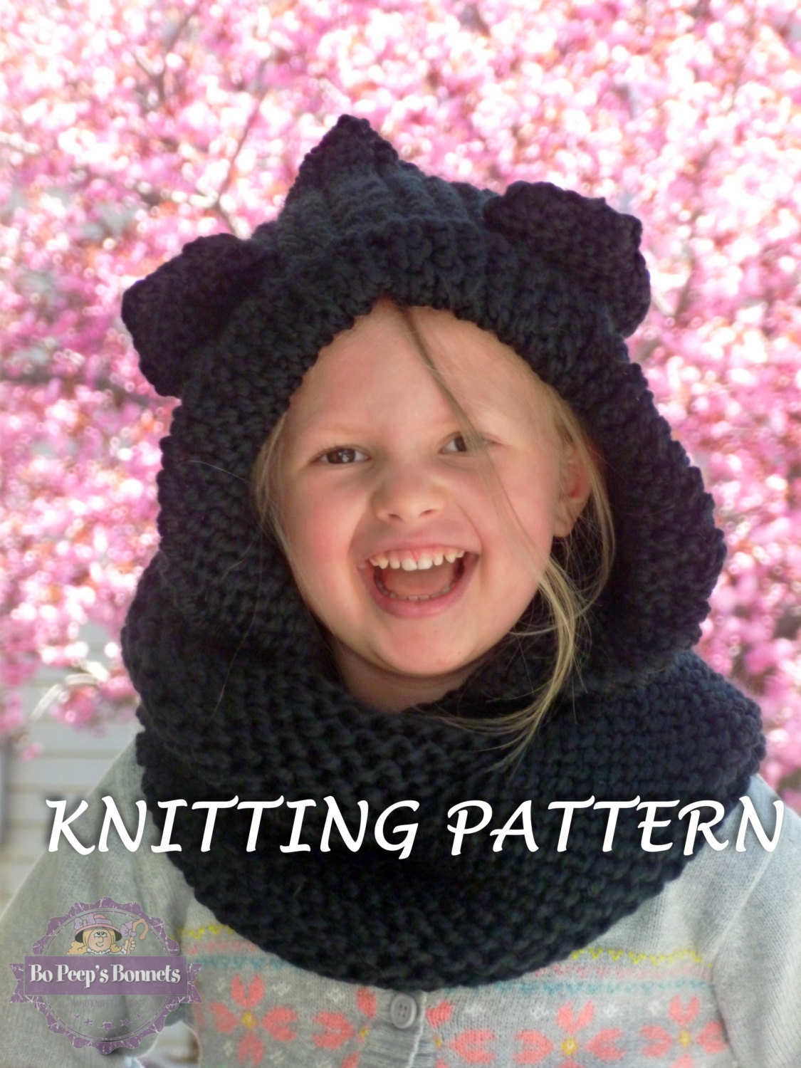 KNITTING PATTERN Hooded Cat Ears Cowl Scarf, Cat Scarf Knitting ...
