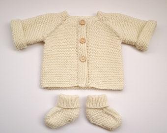 Hand Knit Baby Cardigan + Bootie Set - Cream