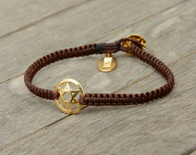 Golden Star of David Charm Bracelet on Macrame Bracelet - Bracelet for women or men