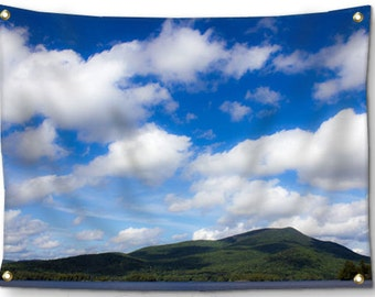 Adirondack Tapestry-Sky Tapestry-Blue Mountain Lake Wall Decor-ADK-Fabric Wall Hanging-Blue Wall Decor-Fine Art Tapestry-Outdoor Tapestry