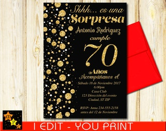 SPANISH 70th Birthday Surprise Invitation, Black and Gold Confetti, DIY, 5x7 or 4x6