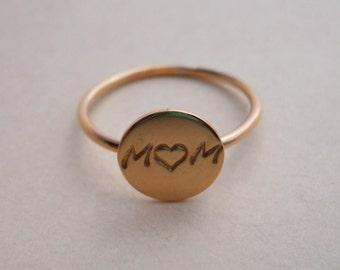 MOM Disc Ring - 14k Gold Filled - Disk Ring