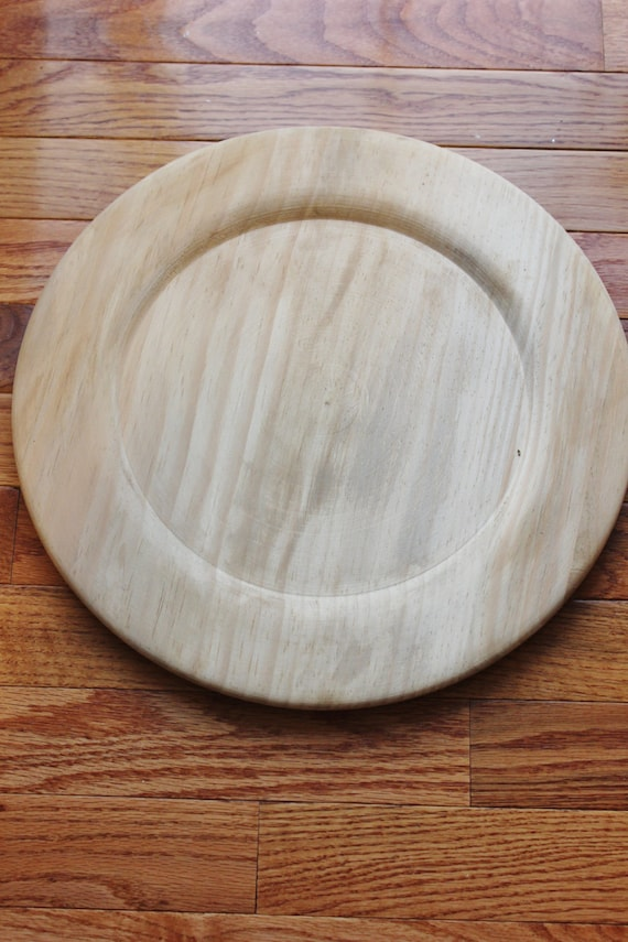 & 24 WOOD STAINED CHARGER Plate Plates Charger Dinnerware Rustic