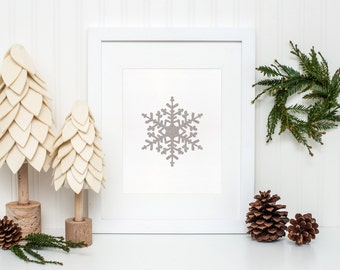 Silver Snowflake Printable, Winter wall art, Christmas home decor, Snowflake art print, Holiday decor, Winter Print, Christmas Printable art