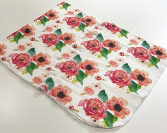 Red Floral Dreams Organic Cotton Knit Swaddle Blanket