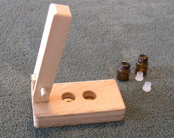 Free First Class USA Shipping Orifice Reducer Press for Sample Oil Vials - hand crafted unfinished wood