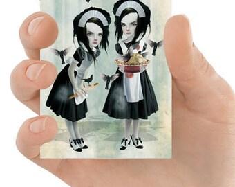Blackbirds ACEO Card | Artist Trading Card | Miniature Art Print | ACEO Print | Four And Twenty Blackbirds