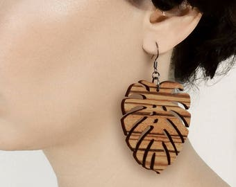 Monstera Wooden earrings, Zebra wood earrings, Leaf earrings, Zebrano earrings, Monstera earrings, Natural wood, Lightweight, Laser cut
