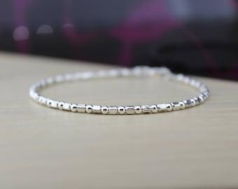 DAINTY SILVER BRACELET - Silver Cube Bracelet - Solid Silver Bracelet - Gift For Her - Silver Stacking Bracelet - Minimalist Bracelet