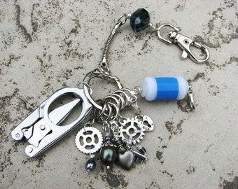 Steampunk Knitter's Chatelaine with Non-Snag Stitch Markers, Row Counter & Folding Scissors on a Decorative Clasp
