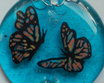 Butterflies Cremation Glass Art Suncatcher Mini 2 inch Cremation Ashes InFused in Glass Heirloom Pet