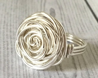 Sterling Silver Ring, Wire Rose Ring, Size 4 5 6 7 8 9 10 11 12 13 14, Statement Ring, Bold Ring, Spiral Ring, Chunky Silver Ring