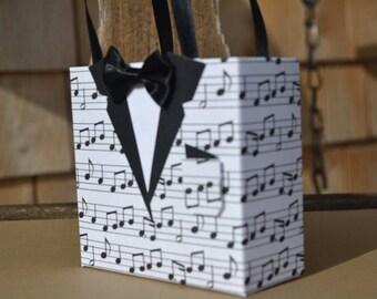 Music tuxedo party favor bag, Groomsmen gfit bag