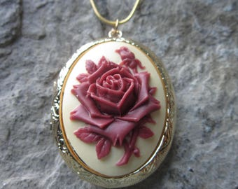 Choose Gold or Bronze - Burgundy - Maroon - Red Rose on Cream Cameo Locket!!! Victorian, Weddings, Photos, Keepsakes