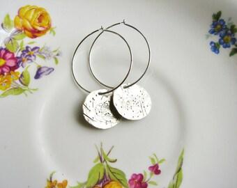 Silver Disk Earrings, Distressed Metal Earrings, Minimalist Silver Earrings, Sleeper Hoop Earrings