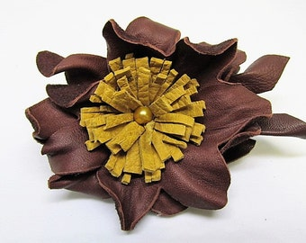 Brown leather corsage, boutonniere, rustic wedding corsage pin, leather flower pin, hat decoration, handmade brown flower, handmade Ruby62