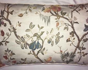 Scalamandre Antique White Melograno Lampas Bolster Pillow