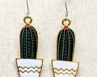 Cactus Earrings / Succulent Earring  / Green Gold Enamel Earrings / Plant Earrings / Plant Lady / Dangle Earrings / Stainless Steel Ear Hook