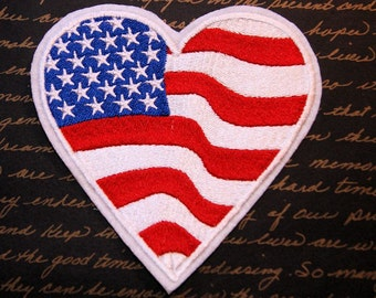 USA American Flag Heart Iron On Embroidery Patch MTCoffinz - Choose Size