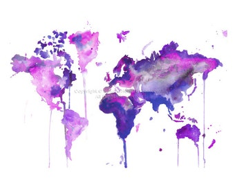 World watercolor map etsy gumiabroncs Gallery