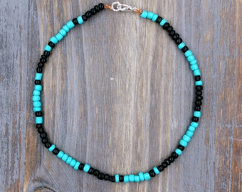 Turquoise Ankle Bracelet, Turquoise Anklet, Beaded Anklet, Boho Anklet, Black Anklet, Black Ankle Bracelet, Women's Anklet, Foot Jewelry