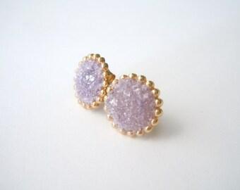 Raw Gemstone Stud Earrings - Lepidolite - Mineral Jewelry - Natural Glam Jewelry
