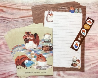 Fluffy Animals Letter Set - Coffee