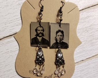 RESERVED Tintype Photo  Earrings No.2
