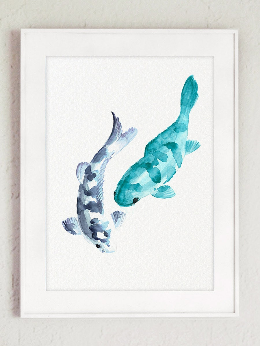 Koi fishes watercolor painting japanese carp nursery decor for Japanese fish decoration