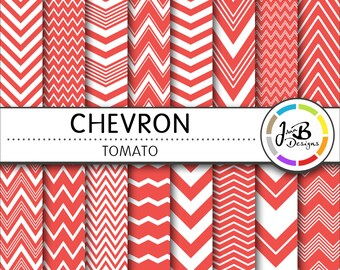Chevron Digital Paper,  Tomato, Red,Red and White, Chevron, Zig Zag, Digital Paper, Digital Download, Scrapbook Paper, Digital Paper Pack