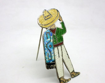 Vintage Colorful Enamel Mexican Sterling Silver Pin by Jose Frederico