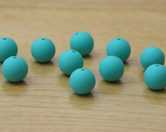 Turquoise 15mm Round Silicone beads, 10 pack
