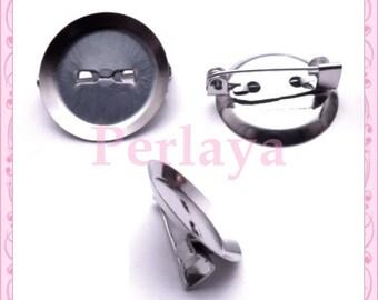 Set of 4 holders dark silver pins 20mm cabochons REF228
