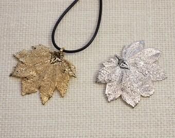 SALE Leaf Necklace, Maple Leaf, Silver Full Moon Maple Leaf, Gold Leaf, Real Leaf Necklace, Silver Maple Leaf Pendant, SALE331