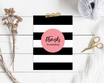Thank You Card Set, Pink-Black-White 5x7 Flat Cards, Thanks for Everything