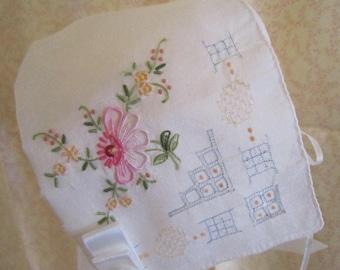 Embroidered Handkerchief Baby Bonnet