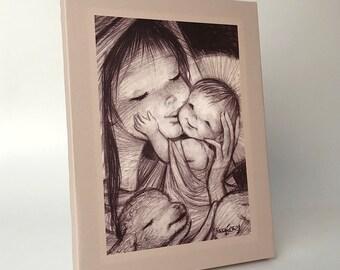 Mum Virgin. Canvas print mounted in frame. Reproduction numbered of Juan Ferrandiz's work